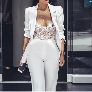 Tops - White Lace Bodysuit
